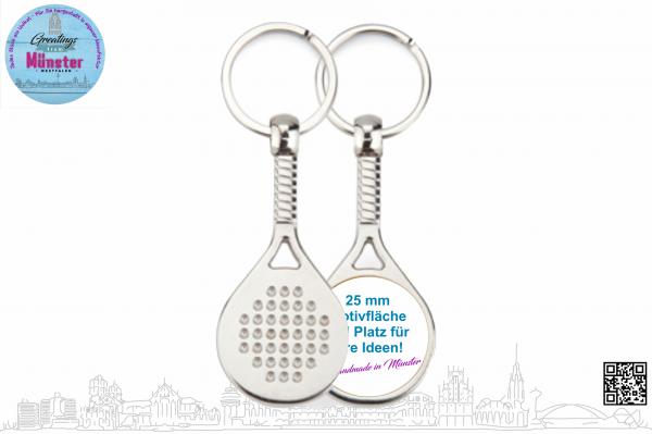 Schlüsselanhänger Padel Ø 25 mm einseitig individuell gestaltbar