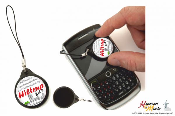 Smartphoneanhänger mit Microfaserpad als Cleaner