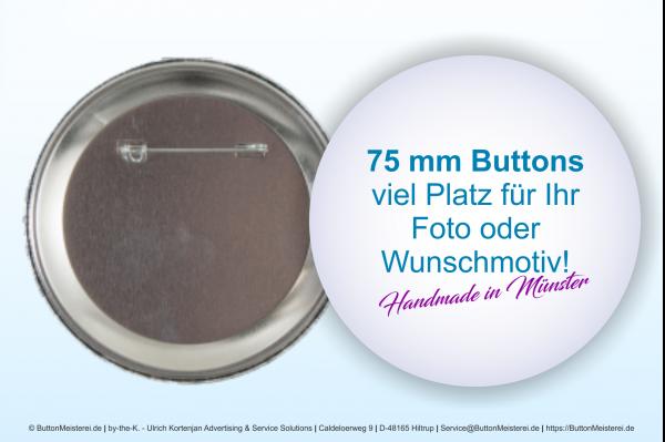 75 mm Button mit Anstecknadel - individuell gestaltbar