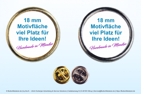 Pin Anstecknadel gold Ø 18 mm - Rohling