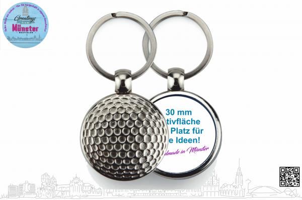 Schlüsselanhänger Golfball Ø 30 mm einseitig individuell gestaltbar