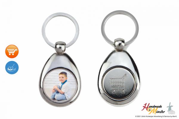 Schlüsselanhänger aus Metall mit Münze - Tropfenform - individuell gestaltbar - Typ 100