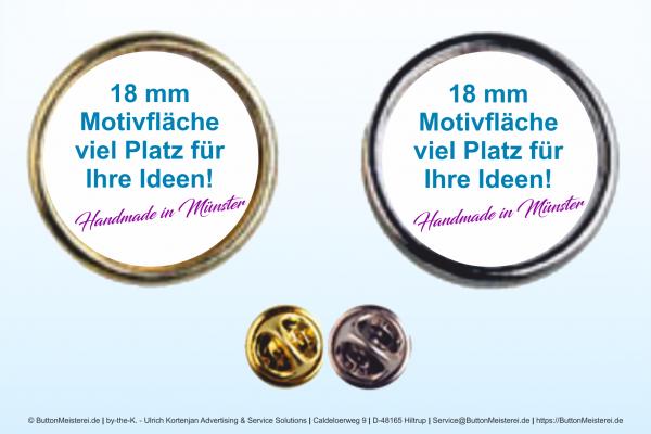 """Anstecker / Pin """"Rund"""" 157 gold - Ø 18 mm einseitig"""