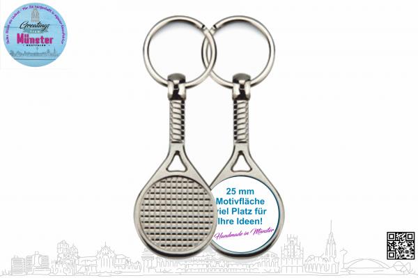 Schlüsselanhänger Tennis Ø 25 mm einseitig individuell gestaltbar