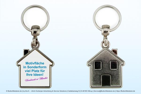 Haus Schlüsselanhänger aus Metall 33 x 35 mm - Rohling