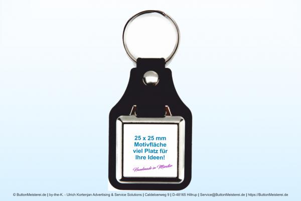 Schlüsselanhänger aus Metall mit Kunstleder 25 x 25 mm - Rohling