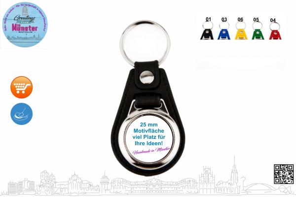 Schlüsselanhänger mit schwarzem Leder Typ 113 Ø 25 mm einseitig individuell gestaltbar