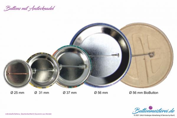 Buttons mit Anstecknadel - verschiedene Größen