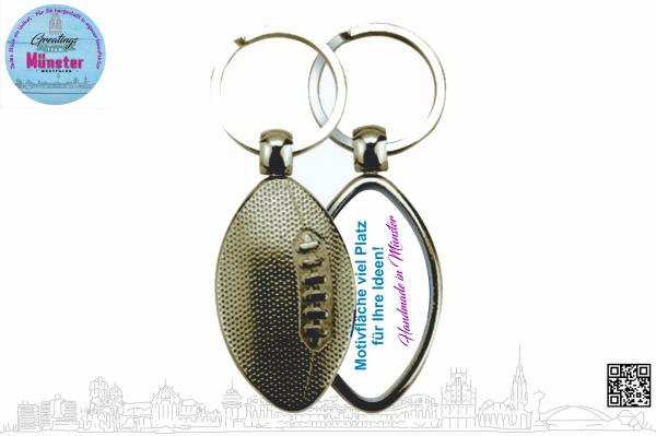 Schlüsselanhänger Rugby 43 x 24 mm einseitig individuell gestaltbar