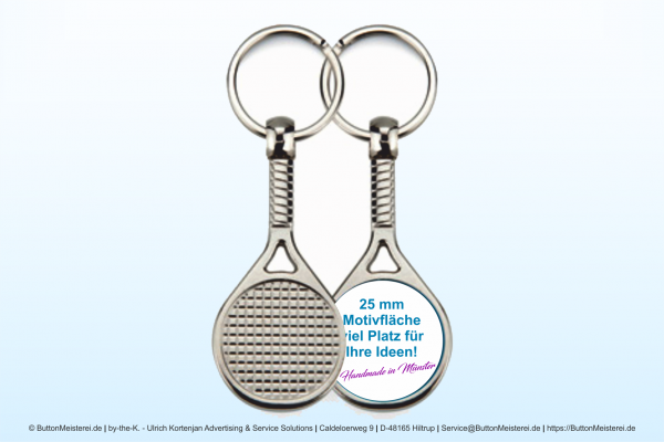 Sport Schlüsselanhänger aus Metall Tennis Ø 25 mm - Rohling