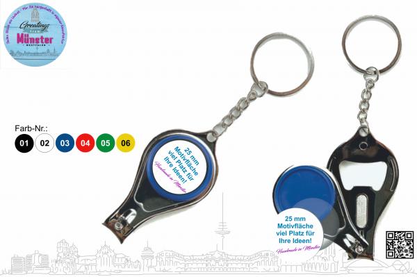 Schlüsselanhänger Multitool Ø 25 mm einseitig individuell gestaltbar