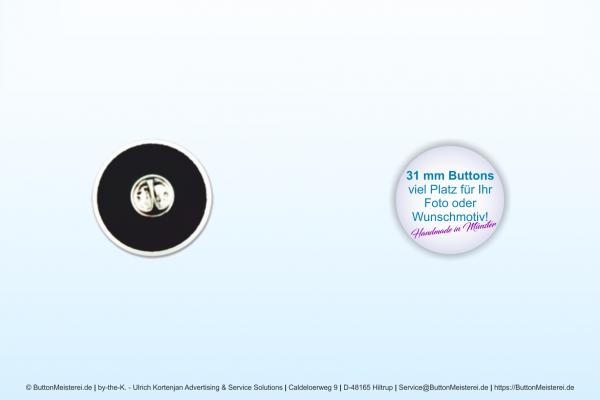 31 mm Button mit Pin und Butterflyverschluß - individuell gestaltbar
