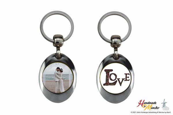 Schlüsselanhänger Oval - 2-seitig individuell gestaltbar