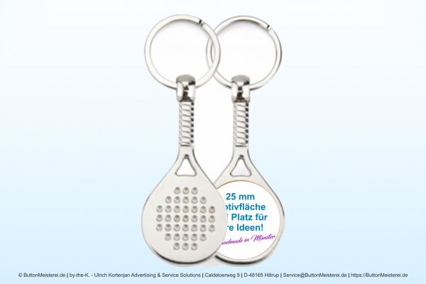 Sport Schlüsselanhänger aus Metall Padél Ø 25 mm - Rohling