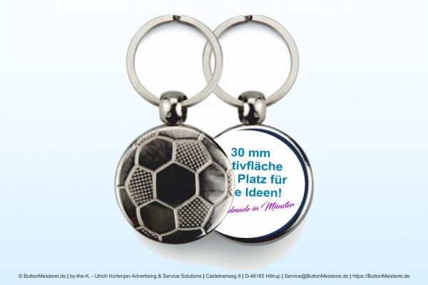 Sport Schlüsselanhänger aus Metall Fußball Ø 30 mm - Rohling