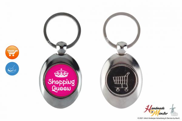 Schlüsselanhänger Oval mit Münze - 1-seitig individuell gestaltbar