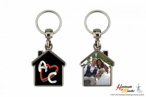 Schlüsselanhänger Haus - 2-seitig individuell gestaltbar