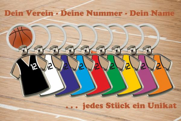 Schlüsselanhänger Basketball Trikot zweiseitig individuell gestaltbar