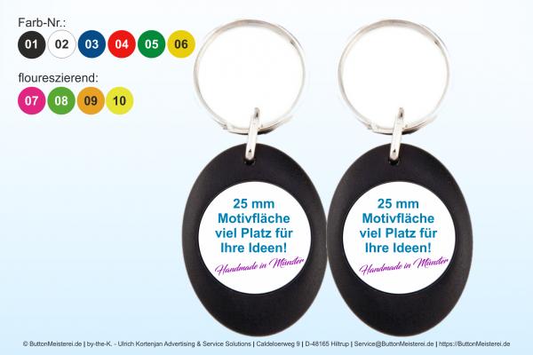farbiger Schlüsselanhänger aus Kunststoff Ø 25 mm - Rohling
