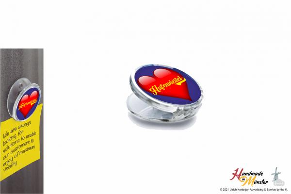 Acryl Magnet Clip Ø 51 mm - 1-seitig individuell gestaltbar