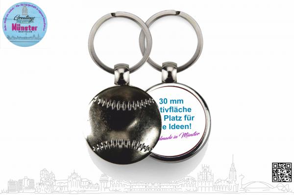 Schlüsselanhänger Baseball Ø 30 mm einseitig individuell gestaltbar
