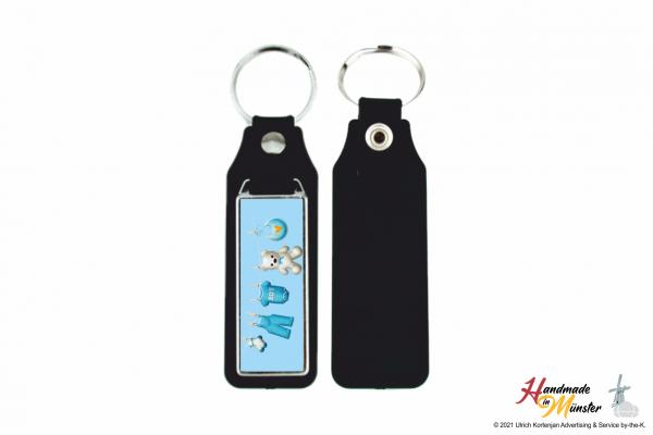 Schlüsselanhänger Rechteck mit Kunstleder - 1-seitig individuell gestaltbar