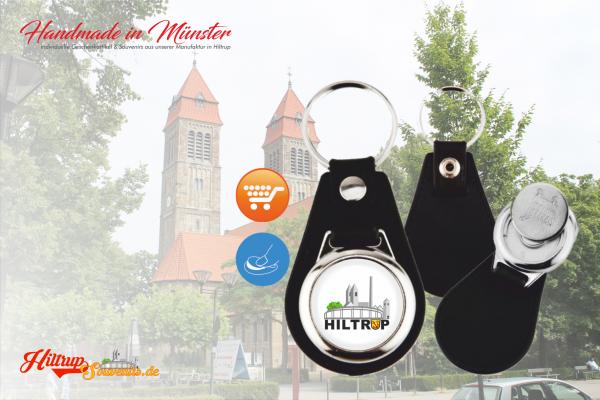 Hiltrup Schlüsselanhänger mit schwarzem Leder und Münze für Einkaufswagen