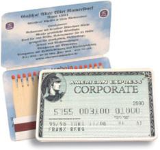 Scheckkarte - Zündholzbriefchen