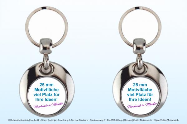 Metall Schlüsselanhänger Rund - Typ 105 zweiseitig Ø 25 mm