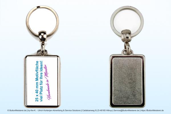 Schlüsselanhänger aus Metall 25 x 40 mm - Rohling