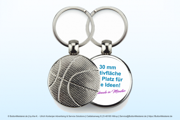 Sport Schlüsselanhänger 182 Basketball - einseitig Ø 30 mm