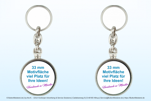 Schlüsselanhänger aus Metall Ø 33 mm - Rohling
