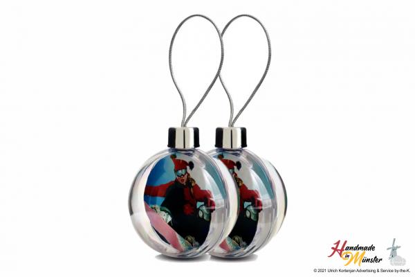 Weihnachts- und Fotokugel aus Acryl 80 mm - 2-seitig individuell gestaltbar