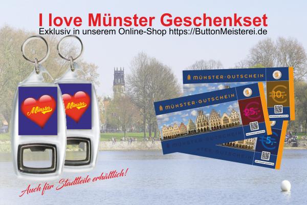 Münster Gutschein und Flaschenöffner Schlüsselanhänger mit zweiseitigem Münstermotiv