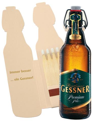 Bierflasche mit Bügelverschluss - Zündholzbriefchen