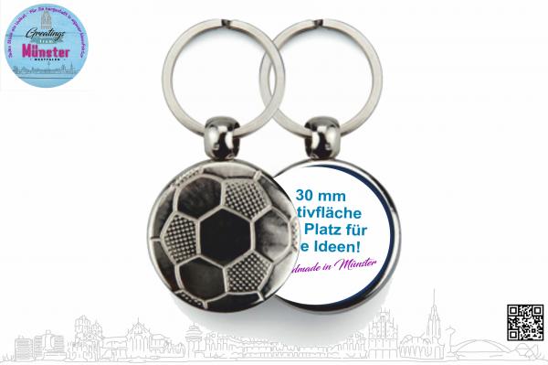 Schlüsselanhänger Fußball Ø 30 mm einseitig individuell gestaltbar
