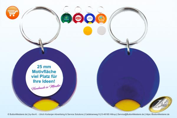 farbiger Schlüsselanhänger gefrostet Ø 25 mm mit Münze - Rohling