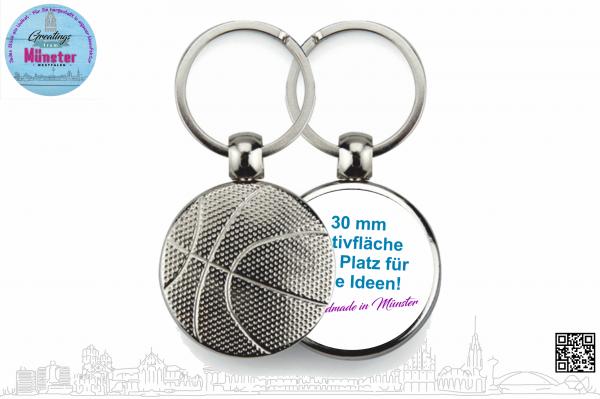 Schlüsselanhänger Basketball Ø 30 mm einseitig individuell gestaltbar