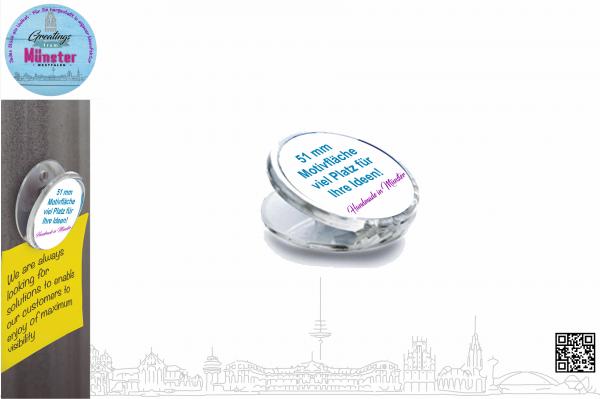 Acryl Magnet Clip Ø 51 mm einseitig individuell gestaltbar