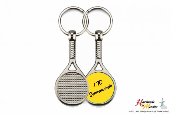 Tennisschläger Schlüsselanhänger - 1-seitig individuell gestaltbar