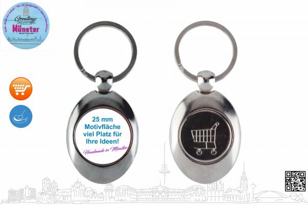 Schlüsselanhänger mit Münze Typ 111 Ø 25 mm einseitig individuell gestaltbar