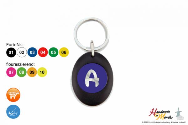 scharzer Schlüsselanhänger Oval mit Münze - 1-seitig individuell gestaltbar