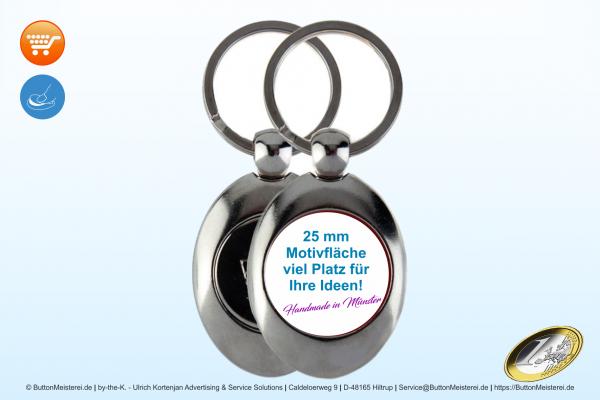 Metall Schlüsselanhänger Oval mit Münze - Typ 111 einseitig Ø 25 mm
