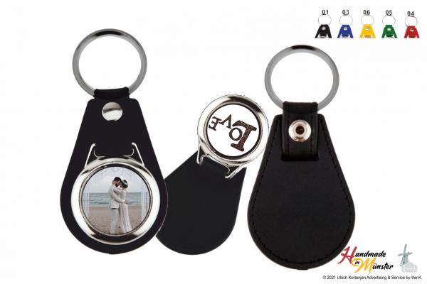 Schlüsselanhänger Rund mit Kunstleder - 2-seitig individuell gestaltbar