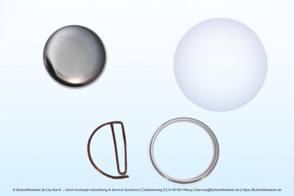 Rohlinge für 37 mm Buttons mit gebogenem Clip / Büroklammer