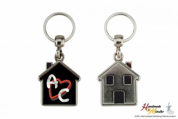 Schlüsselanhänger Haus - 1-seitig individuell gestaltbar