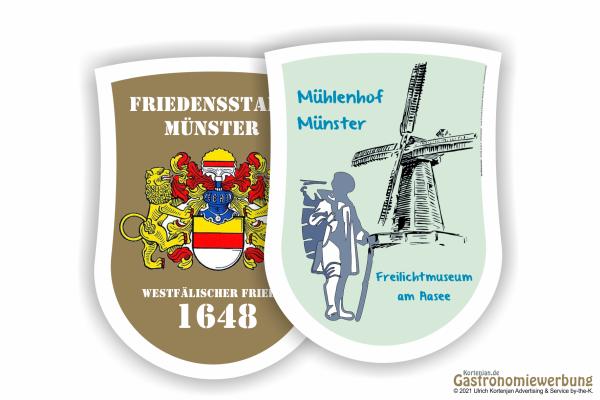Bierdeckel Wappenform 90 x 122 mm - zweiseitig individuell gestaltbar