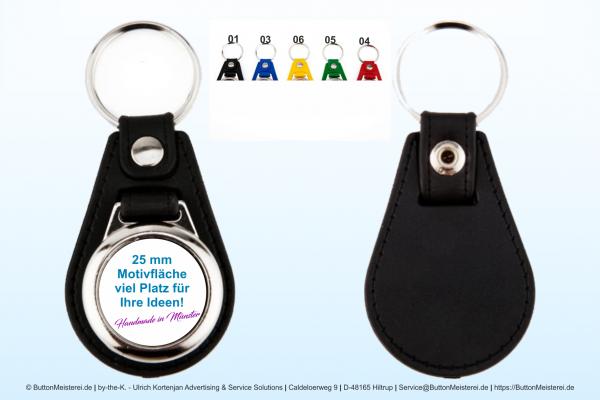 Schlüsselanhänger aus Metall mit Kunstleder Ø 25 mm - Rohling