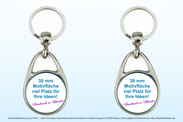 Metall Schlüsselanhänger Tropfenform - Typ 109 zweiseitig Ø 30 mm