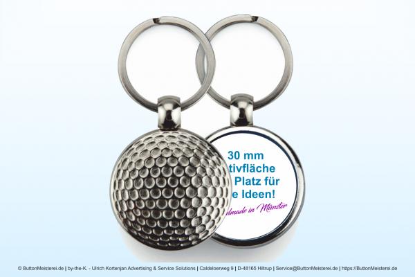 Sport Schlüsselanhänger aus Metall Golfball Ø 30 mm - Rohling